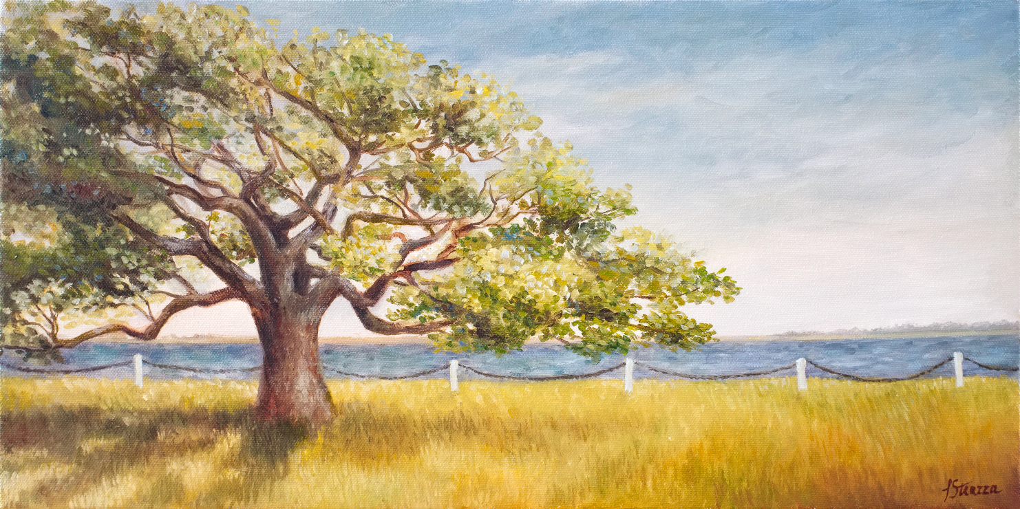 Tree By Waterfront-Painting by Lisa Strazza