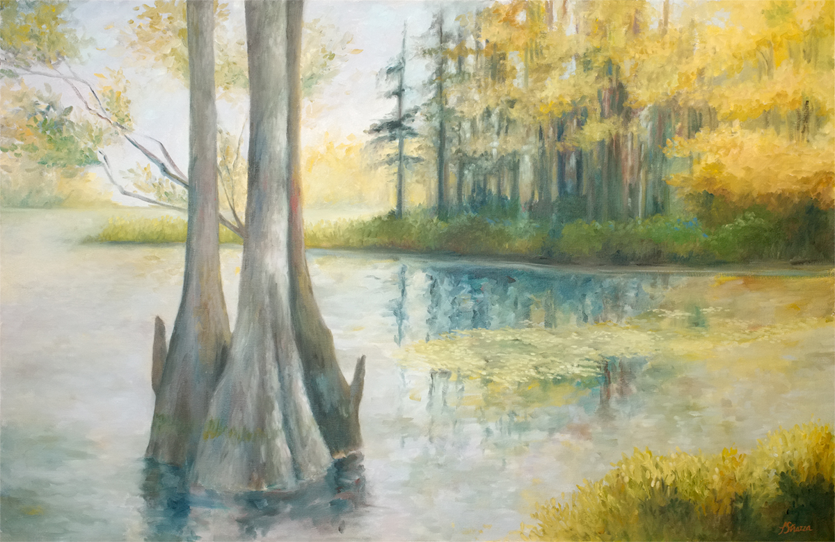 Cypress in Autumn painting by Lisa Strazza