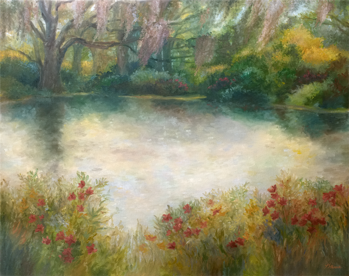 Wild Flowers at Middleton Plantation - painting by Lisa Strazza