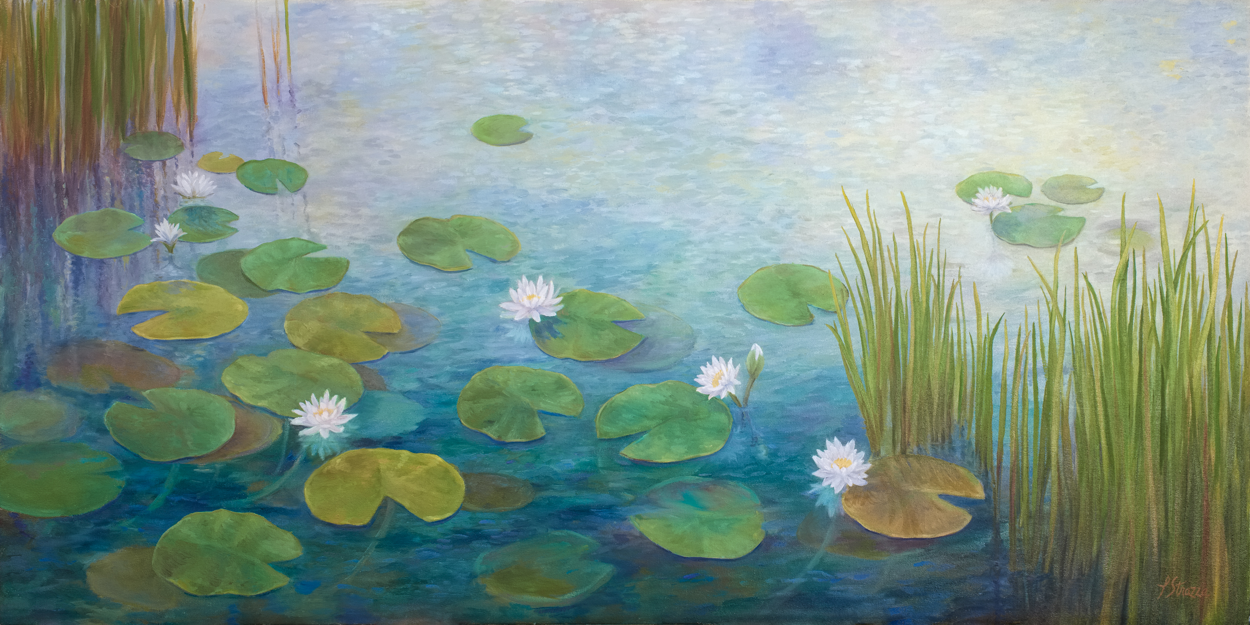 Waterlilies painting by Lisa Strazza